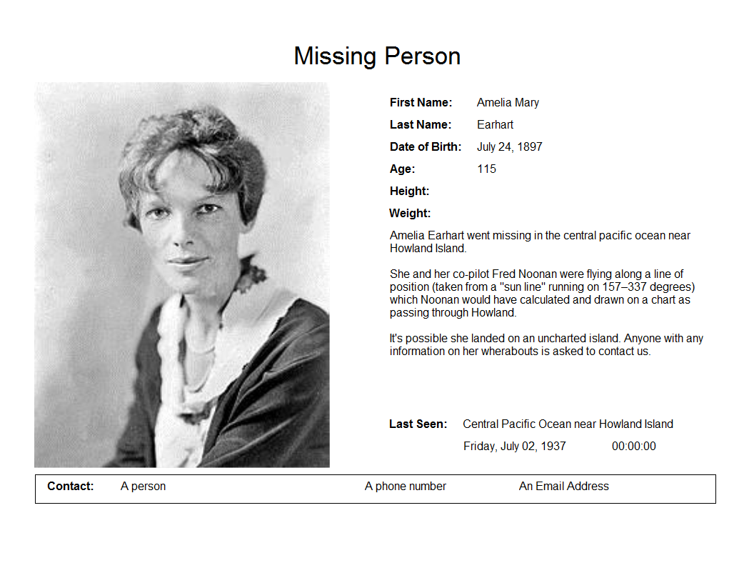Missing Person Template Microsoft Word Earhart Amelia Missing Missing  Person Template Microsoft Word Found Dog Poster Template Found Dog Poster  Template  Found Poster Template